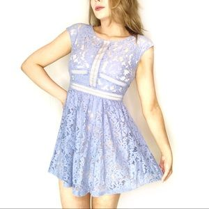altar'd state | blue lace overlay dress medium m